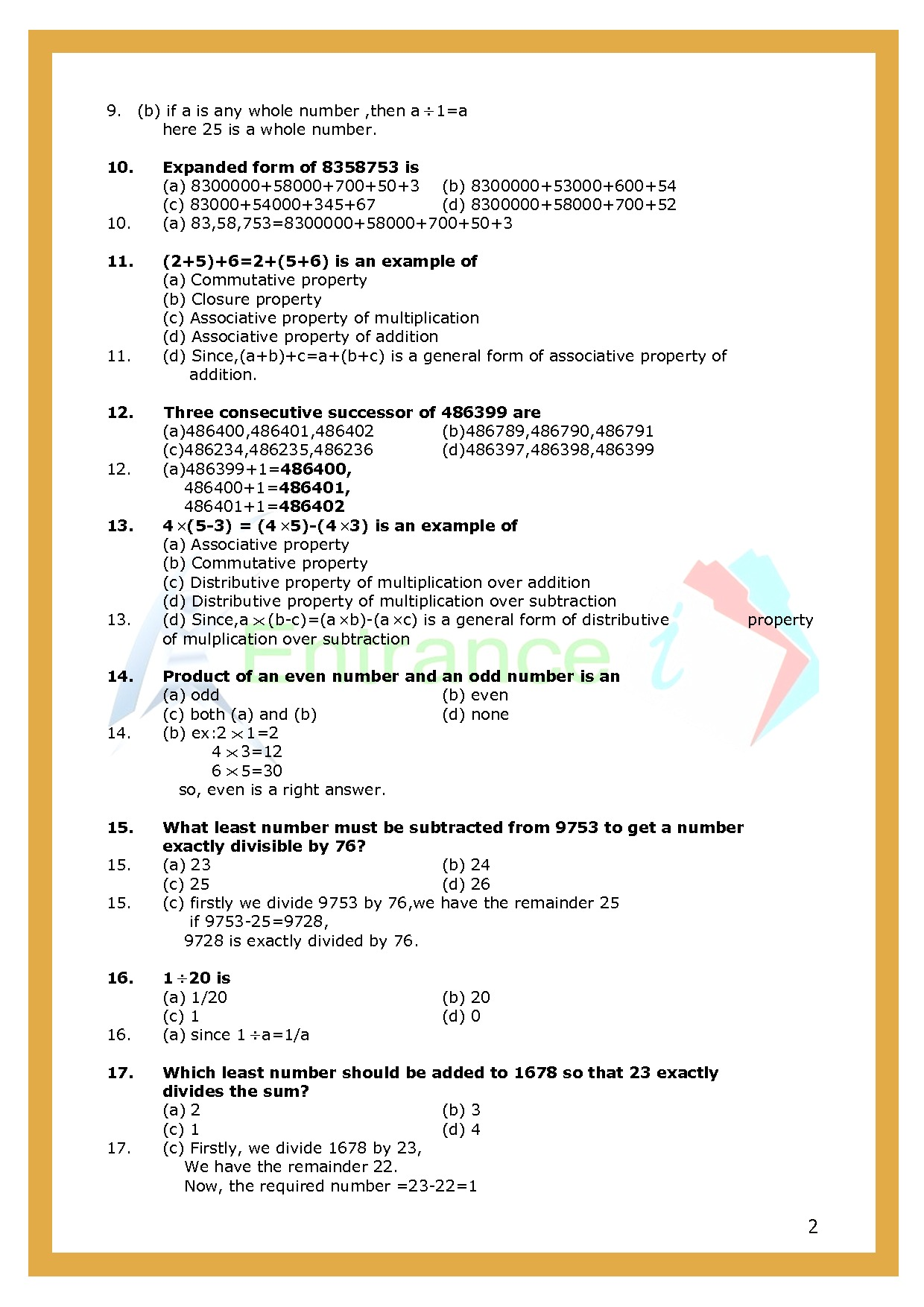 Chapter-2 Whole Numbers | Class 6 Maths | worksheet