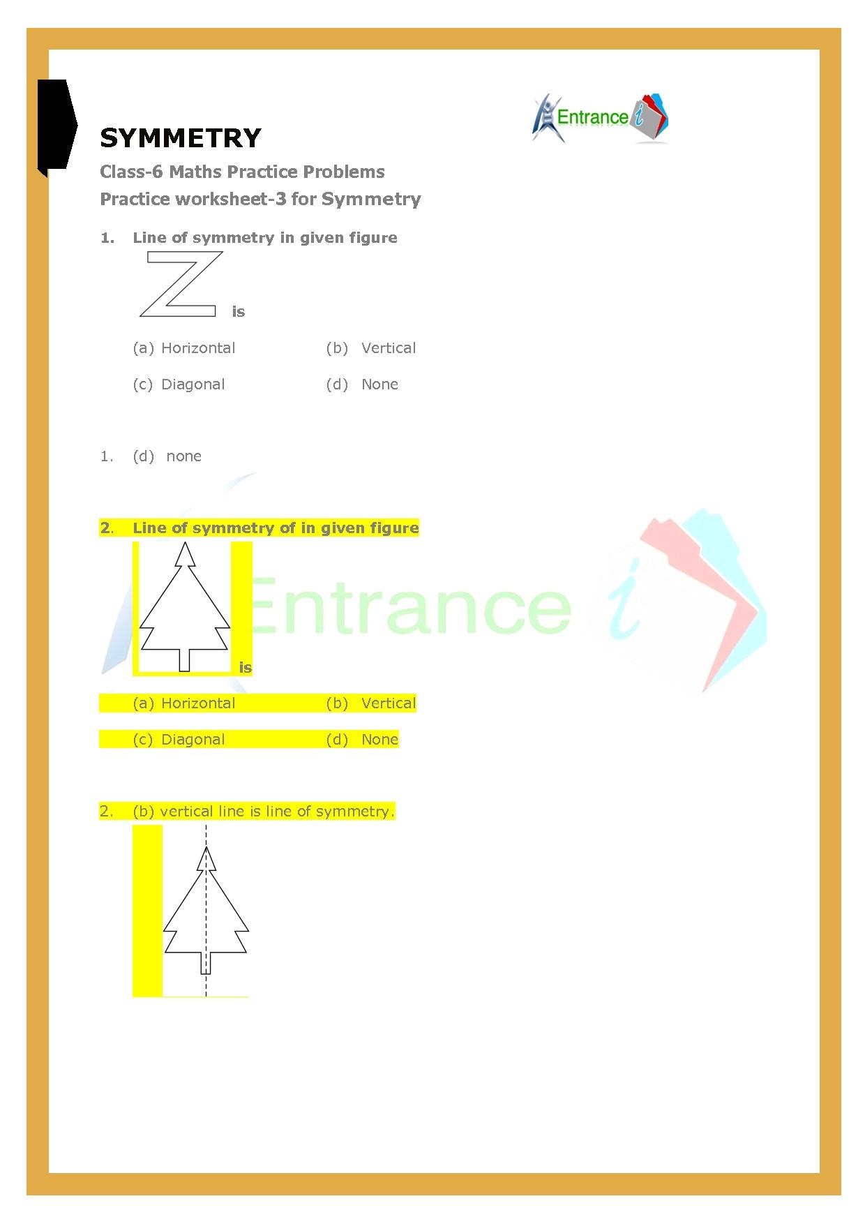 Class 6 Maths Chapter 13 Symmetry Worksheet 3 Entrancei [ 1754 x 1240 Pixel ]