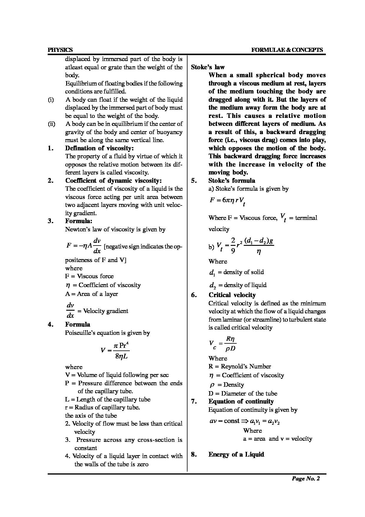 Download the free Pdf sheet of list of physics formulas