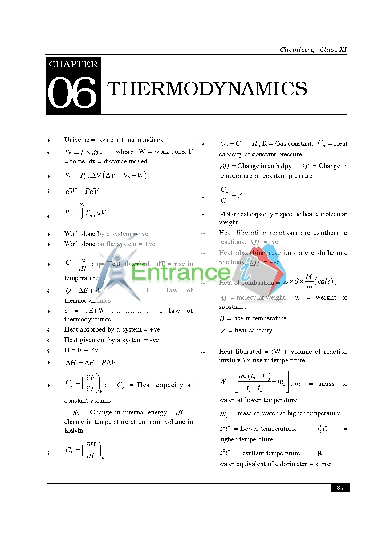 Chemistry formula for class 11 chapter- Thermodynamics ...