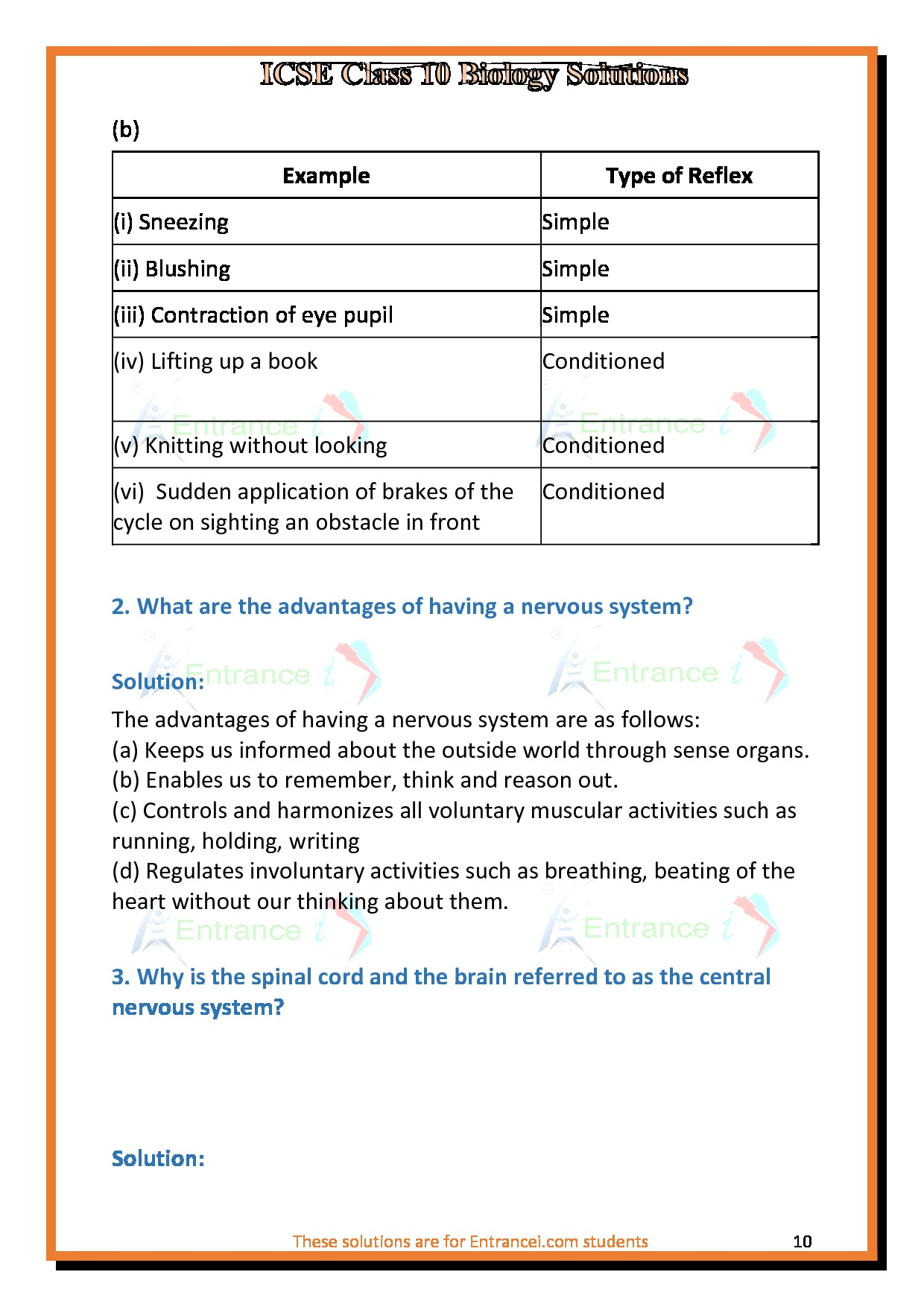ICSE Class 10 Biology solutions for chapter-10 - The ...